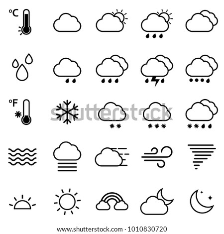 Weather Icons Forecast Set - Vector Illustration Flat Design, Simple Modern Monotone Line Craft