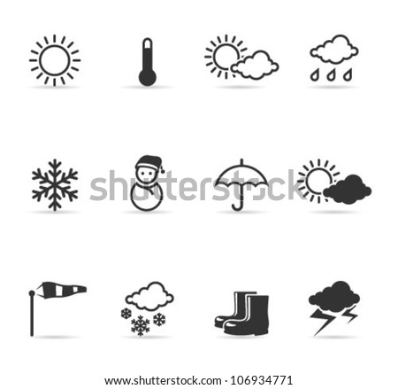 Weather icons  in single color. Transparent shadows placed on separated layer.