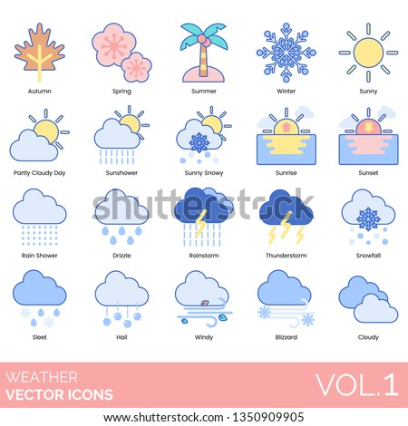 Weather icons including autumn, spring, summer, winter, sunny, cloudy day, sun shower, snowy, sunrise, sunset, rain shower, drizzle, rainstorm, thunderstorm, snowfall, sleet, hail, windy, blizzard.
