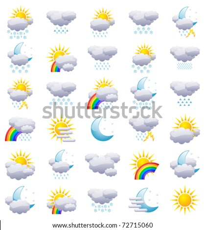 Weather icons isolated on white