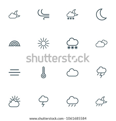 Weather icons line style set with rainfall, overcast, drizzle and other wind elements. Isolated vector illustration weather icons.
