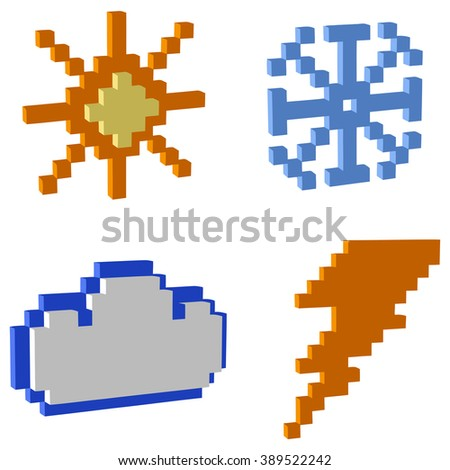 weather icons of 3d pixel art