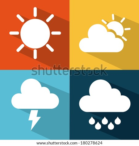 Weather icons of summer, rain, and cloudy days, vector illustration