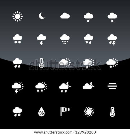 Weather icons on black background. Vector illustration.