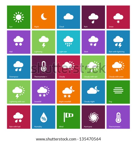 Weather icons on color background. Vector illustration.
