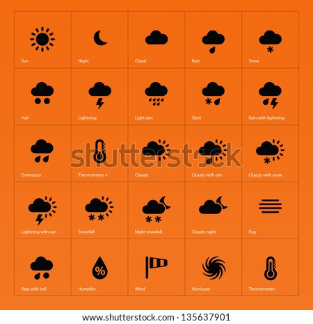 Weather icons on orange background. Vector illustration.