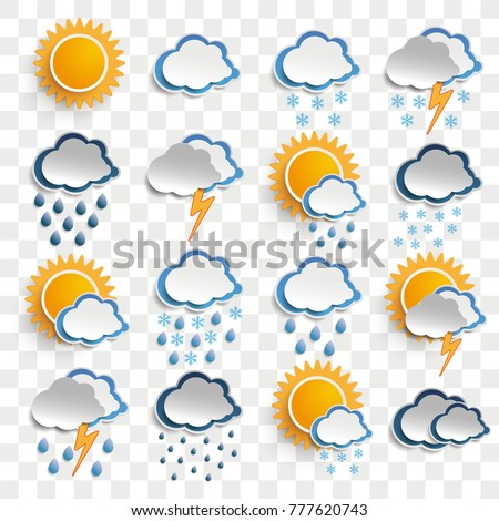 Weather icons on the checked background. Eps 10 vector file.
