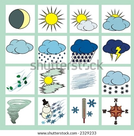 stock vector : weather icons or cliparts color with black outlines on white