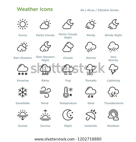 Weather Icons - Outline styled icons, designed to 48 x 48 pixel grid. Editable stroke.