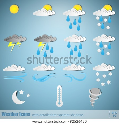Weather icons - paper cut design - stock vector