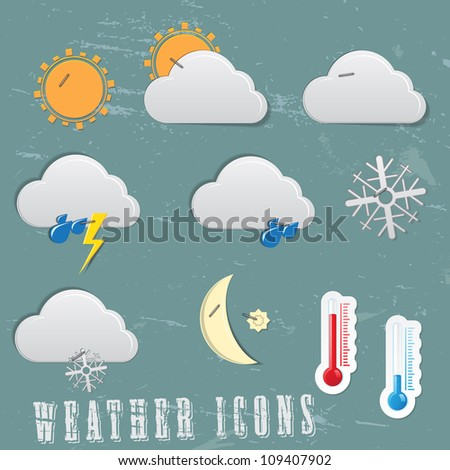 Weather icons - paper cutout