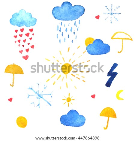Weather icons. Rain drops of red hearts, sun, snowflakes in the blue sky vector illustration