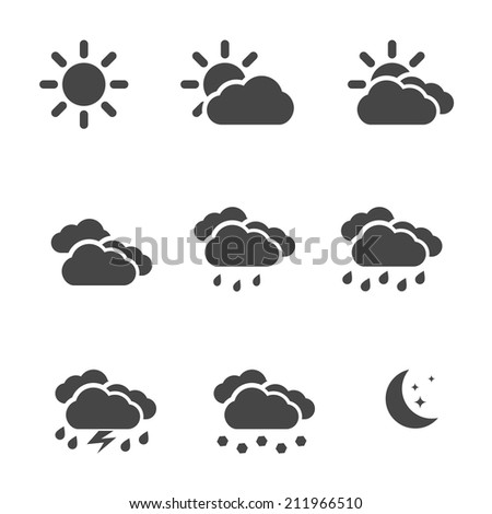 Weather icons set black simple flat symbols isolated on white background. Vector illustration