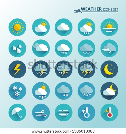 Weather icons set. Cartoon colorfull art vector illustrations. Sticky symbols of forecast. Meteorological infographics signs. Web icons vector design Stock fotó ©
