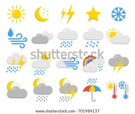 Weather icons set collection. Forecast meteorology illustration