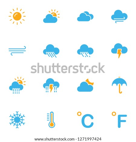 Weather icons set. Collection icon for weather related.