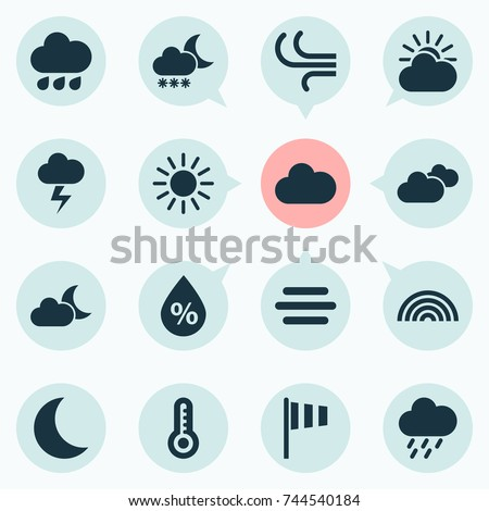 Weather Icons Set. Collection Of Colors, Rainy, Temperature And Other Elements. Also Includes Symbols Such As Rainy, Fog, Sunlight.