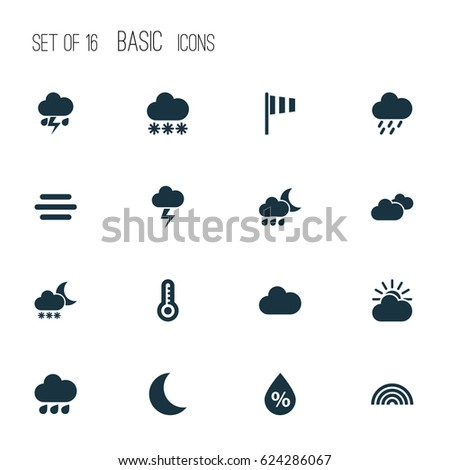 Weather Icons Set. Collection Of Colors, Snowy, Sun-Cloud And Other Elements. Also Includes Symbols Such As Cloudy, Clouds, Snowy.