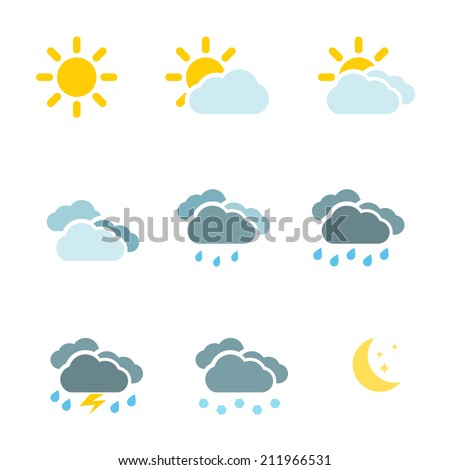 Weather icons set color simple flat symbols isolated on white background. Vector illustration