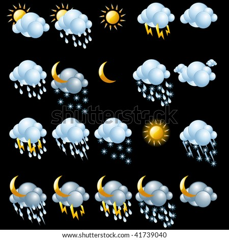 Weather icons set. Easy to edit vector image.
