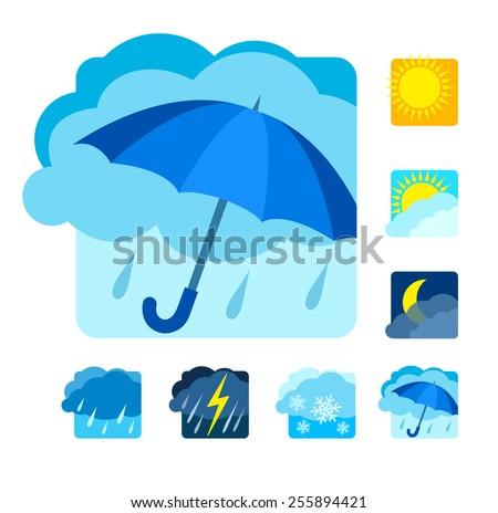 weather icons set flat eps10