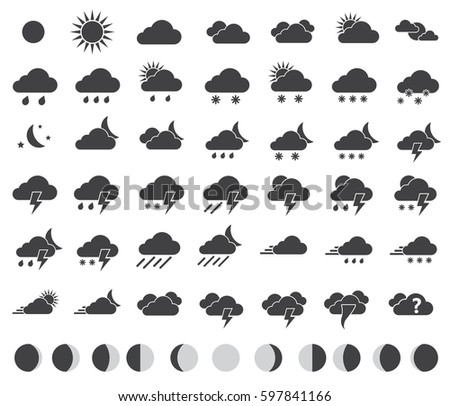 weather icons set for weather forecast, moon phases