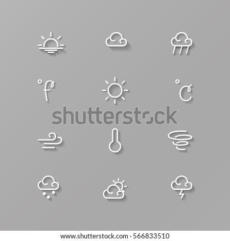 Weather icons set. Forecast line vector set.