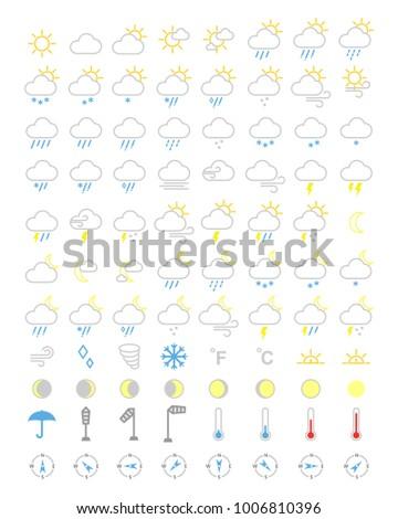 weather icons set, forecasts editable icons