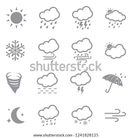 Weather Icons. Set 2. Gray Flat Design. Vector Illustration.