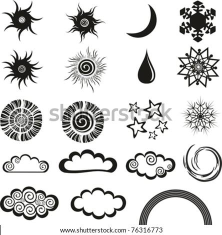 weather icons set isolated on White background. Vector illustration