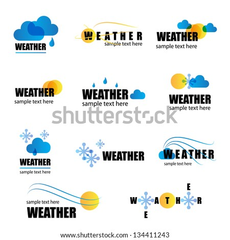 Weather Icons- Set Isolated On White Background Vector Illustration Graphic Design Editable For Your Design Weather Logo
