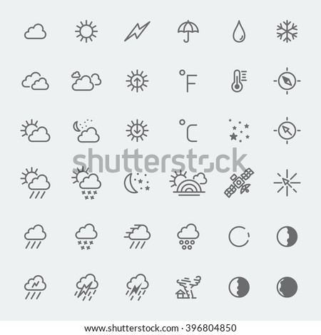 Weather icons set line art vector black and white illustration