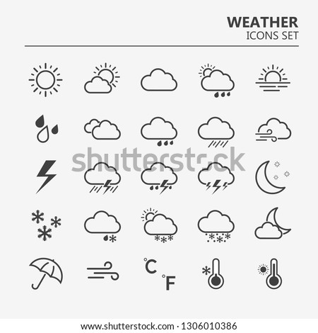 Weather icons set. Line art vector simple outlines illustrations. Meteorological infographics signs. Web icons vector design