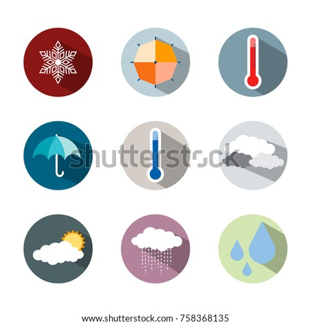 Weather icons, set of bright icons weather rainy sunny temperature and other icons in flat design