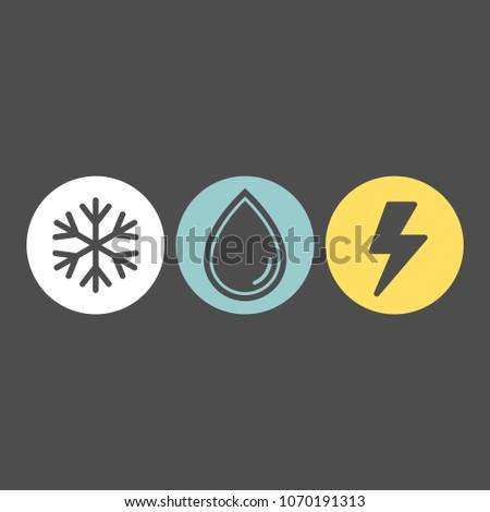 Weather icons set. Rain, snow, storm flat vector icons. Rainfall flat vector icons