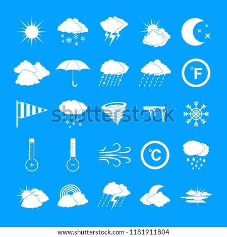 Weather icons set. Simple illustration of 25 weather vector icons for web