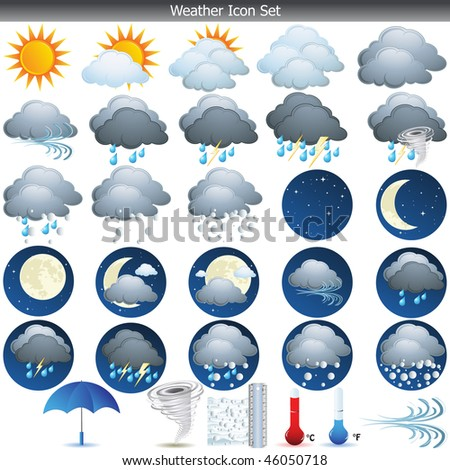 Weather Icons set vector isolated on white