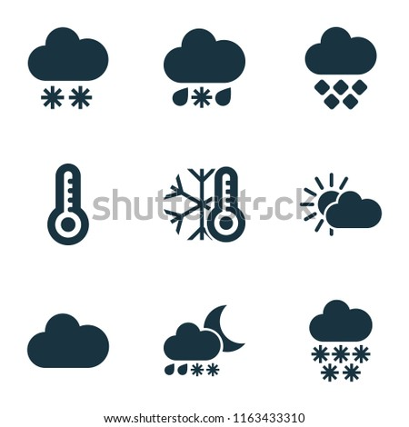 Weather icons set with heavy sleet night, winter, snowfall and other temperature  elements. Isolated vector illustration weather icons.