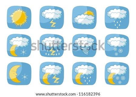 Weather icons set with various atmospheric phenomena