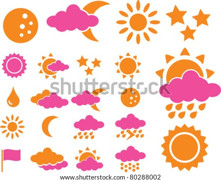weather icons, signs, vector