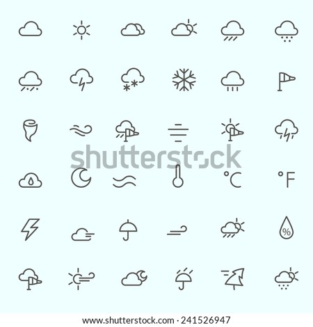 Weather icons, simple and thin line design