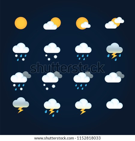 Weather icons sun and clouds in sky, rain with snow, thunder and lightning. Flat vector weather and meteorology for mobile and web application