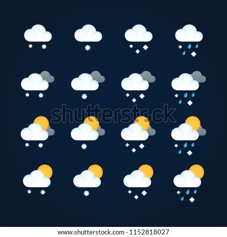 Weather icons sun and clouds in summer sky, rain with snow in winter sky. Flat vector icon weather and meteorology for mobile and web application
