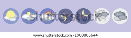 Weather Icons. Sun, rain, rainbow, thunderstorm. Pictogram collection of meteorology. Stock fotó ©