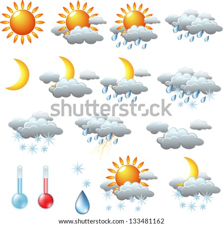 weather icons  sun  rain  snow