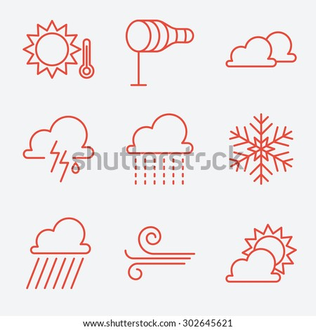 weather  icons  thin line style