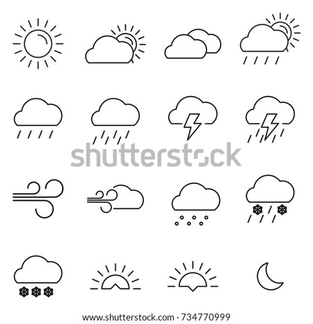 Weather Icons Thin Line Vector Illustration Set
