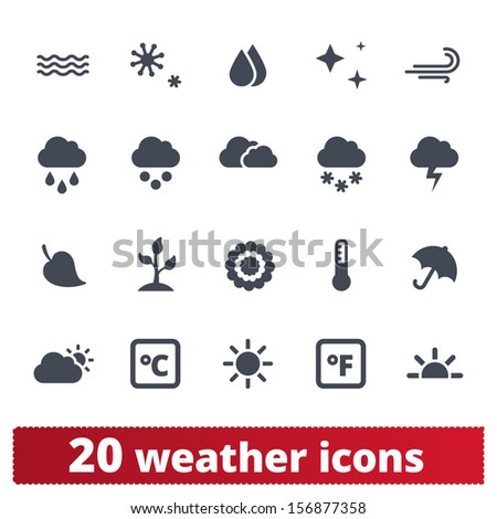 Weather icons: vector set of seasons, meteorology, natural phenomena signs