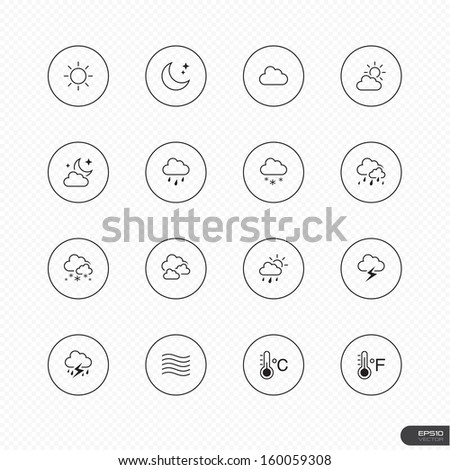 Weather Icons with circle on white background - Vector illustration