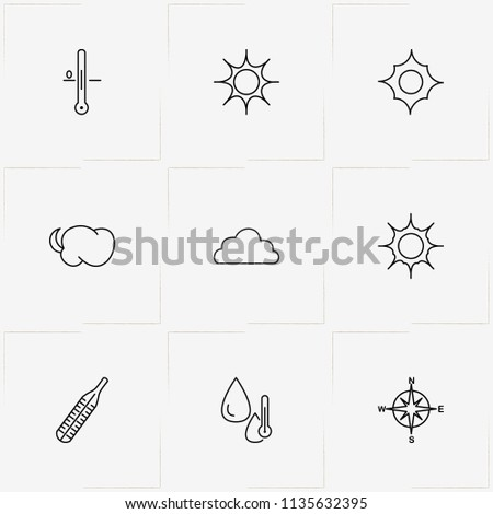 Weather line icon set with humidity , compass and cloud
